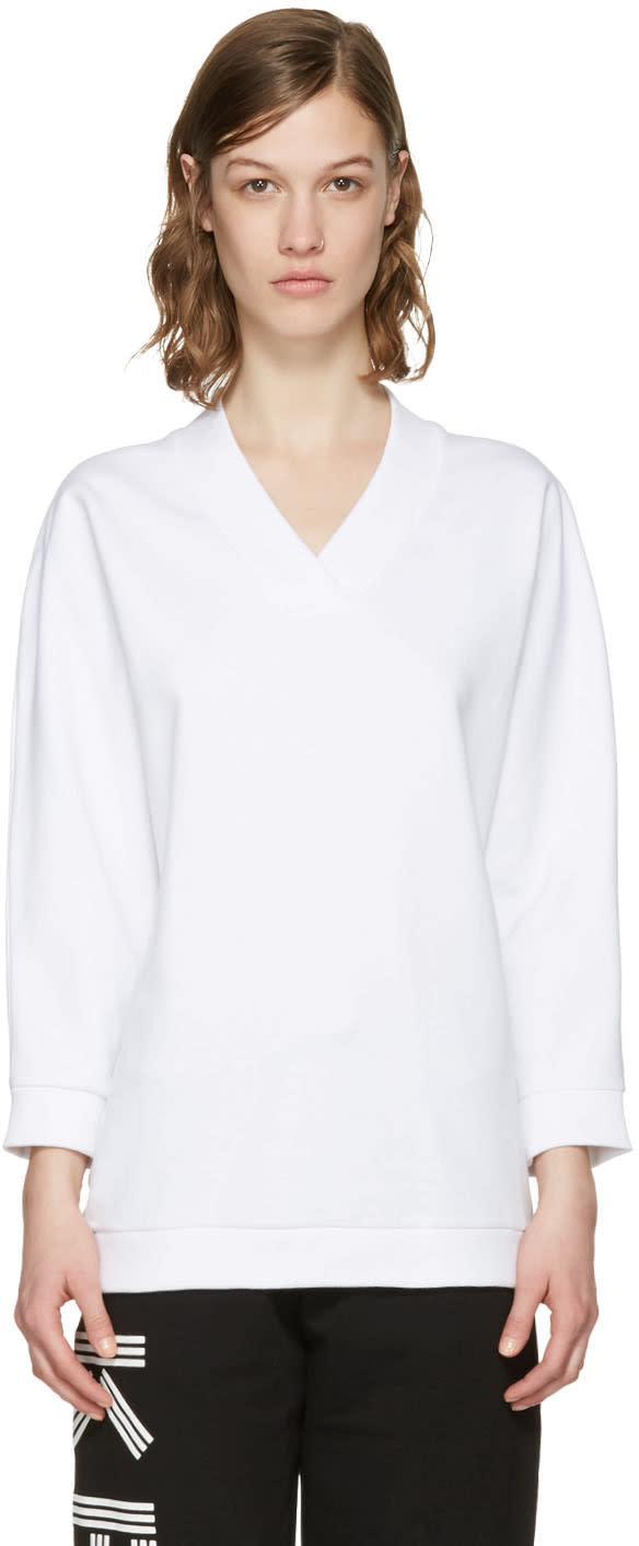 Kenzo White V-neck Pullover