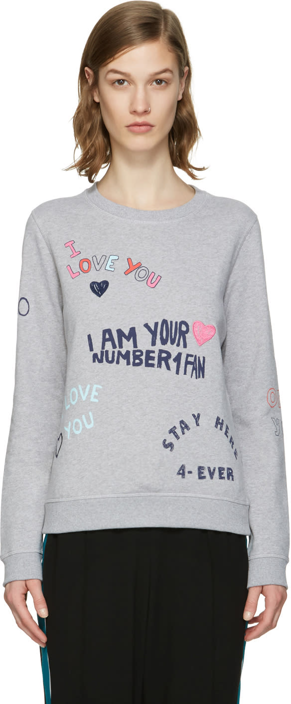 Kenzo Grey Valentines Text Pullover