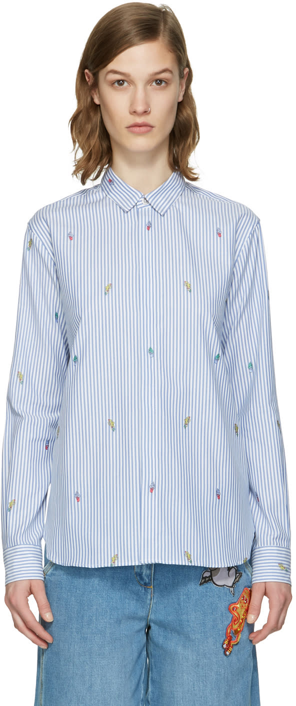 Kenzo Blue Striped Cartoon Shirt