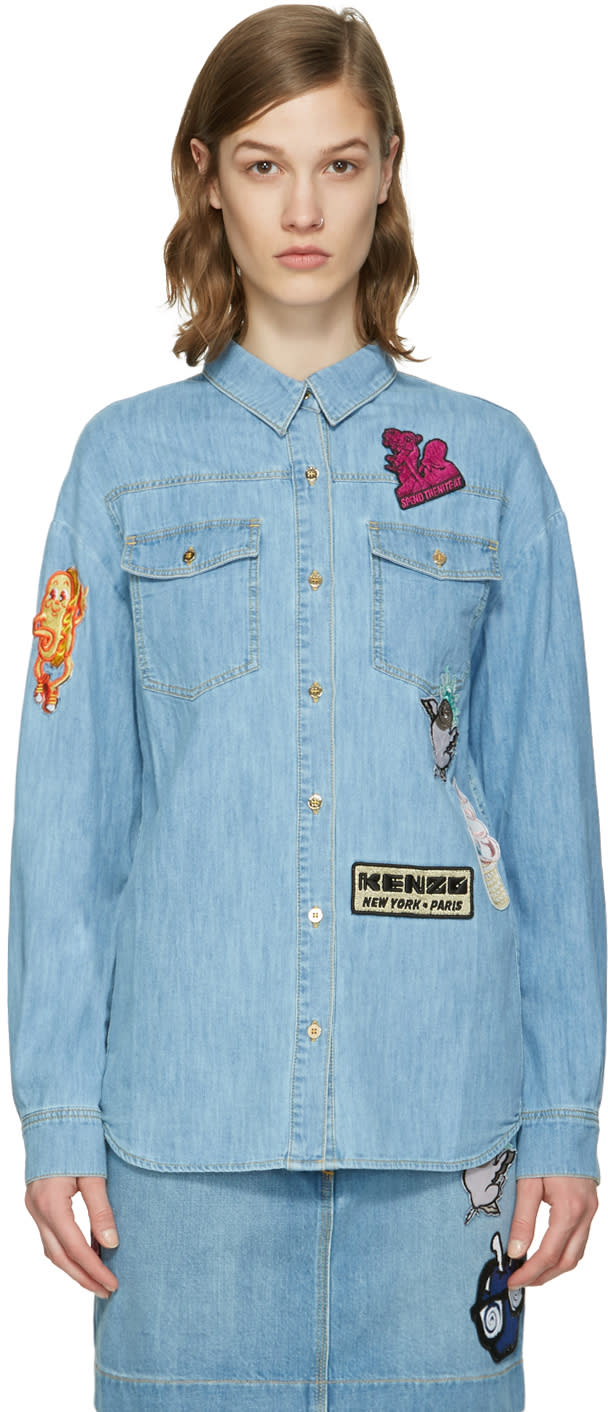 Kenzo Blue Denim Cartoon Patches Shirt