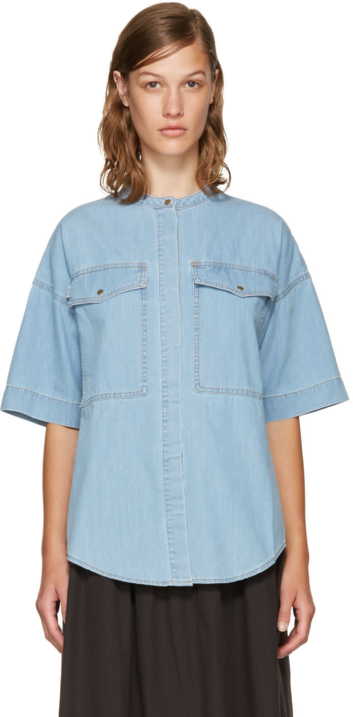 Kenzo Blue Denim Pockets Shirt