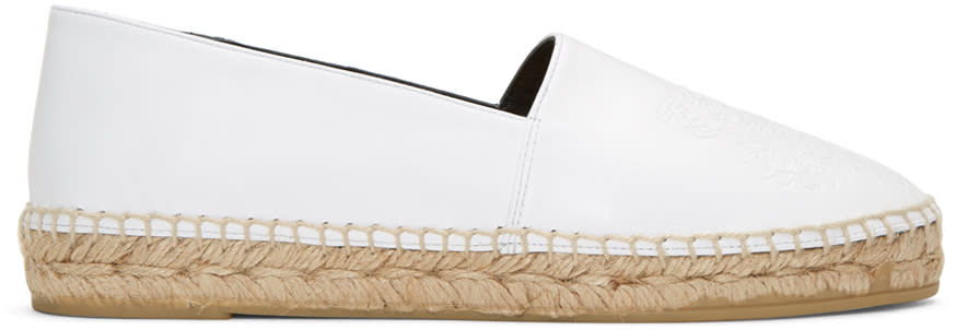Kenzo White Leather Tiger Espadrilles