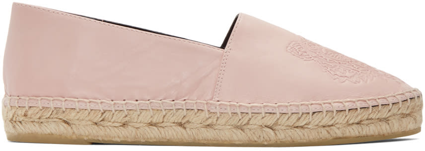 Kenzo Pink Leather Tiger Espadrilles