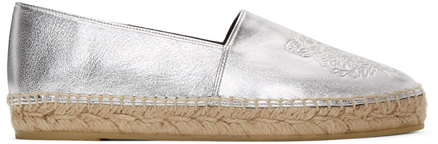 Kenzo Silver Leather Tiger Espadrilles