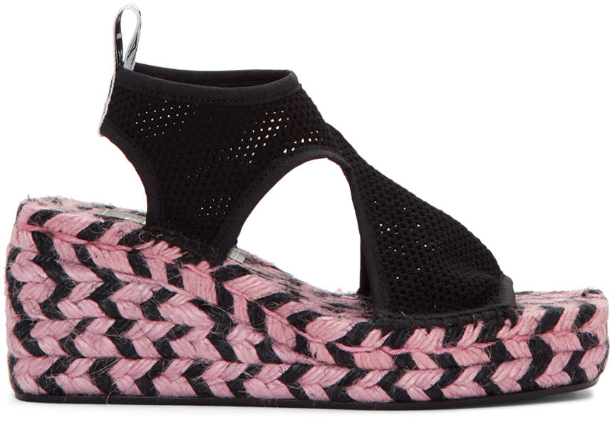 Kenzo Black Nolan Wedge Espadrille Sandals