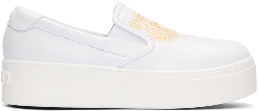 Kenzo White Leather Tiger Sneakers