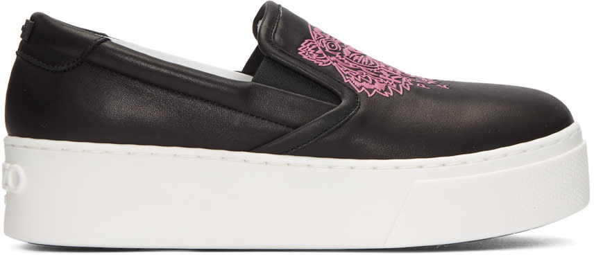 Kenzo Black Leather Tiger Sneakers