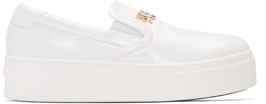 Kenzo White Faux-leather Logo Sneakers