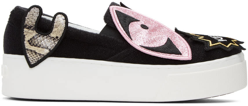 Kenzo Black K-patch Platform Slip-on Sneakers