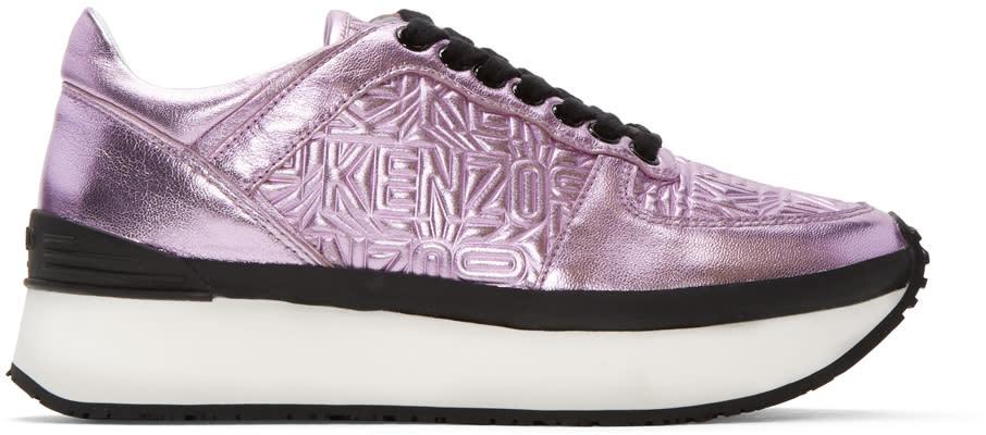 Kenzo Pink Metallic Platform Sneakers
