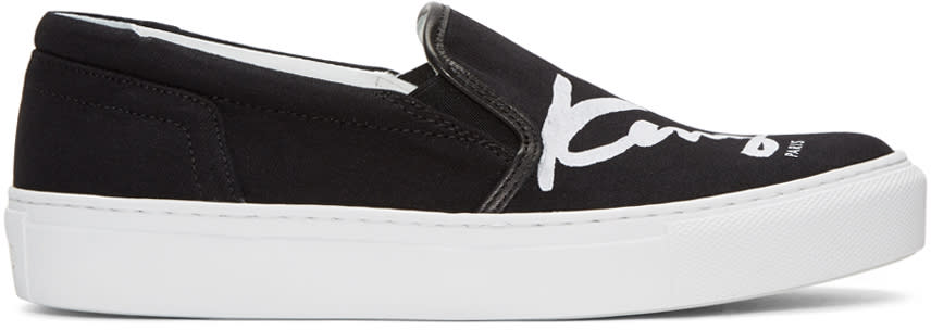 Kenzo Black K-py Signature Platform Slip-on Sneakers