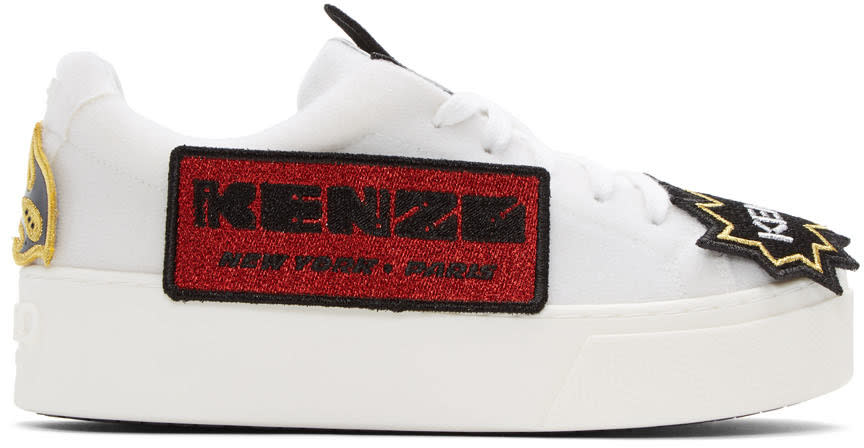 Kenzo White K-patch Platform Sneakers