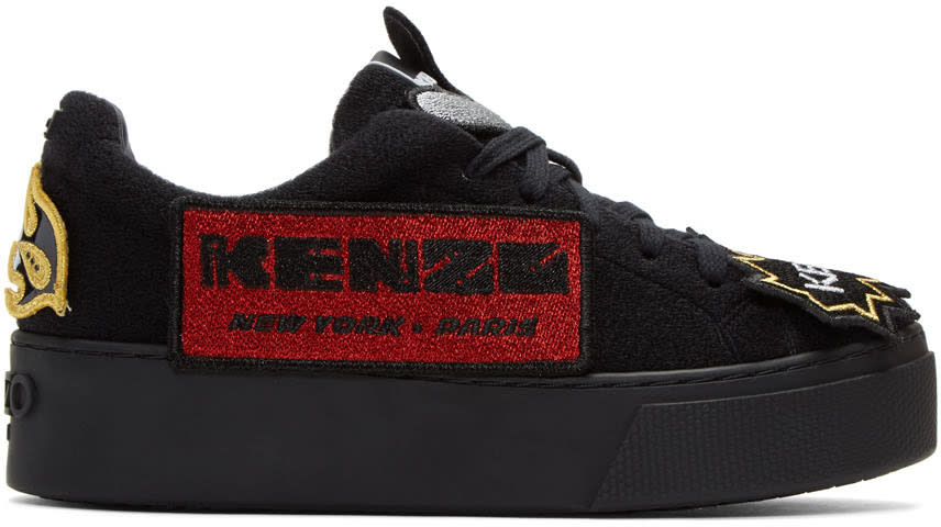 Kenzo Black K-patch Platform Sneakers
