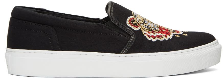 Kenzo Black Tiger Skate Slip-on Sneakers