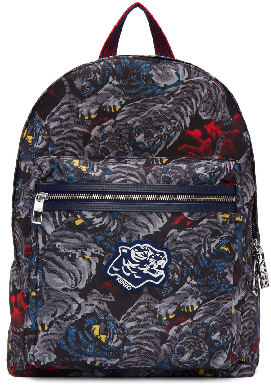 Kenzo Grey Flying Tigers Backpack