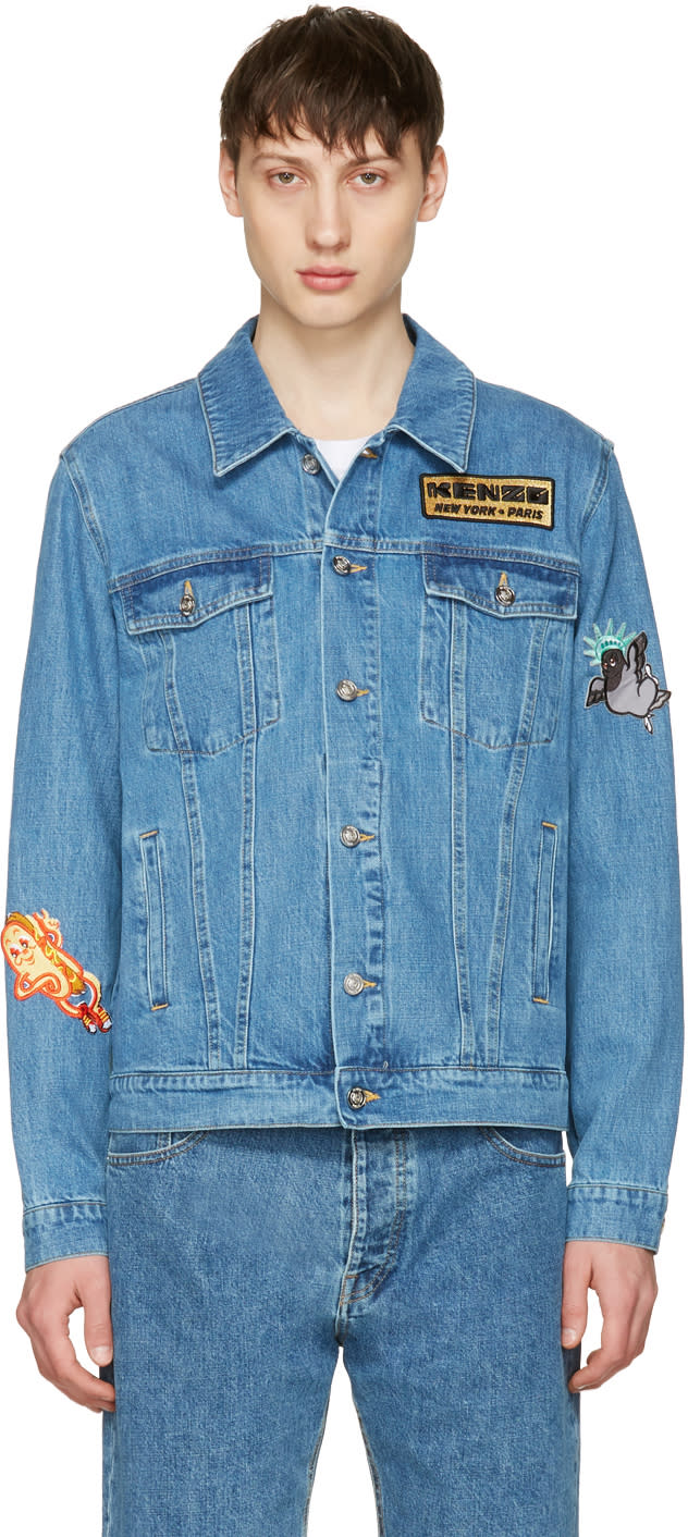 Kenzo Blue Denim Badges Jacket