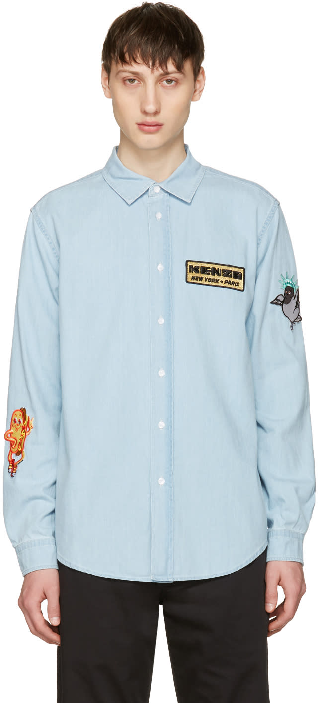 Kenzo Blue Denim Badges Shirt