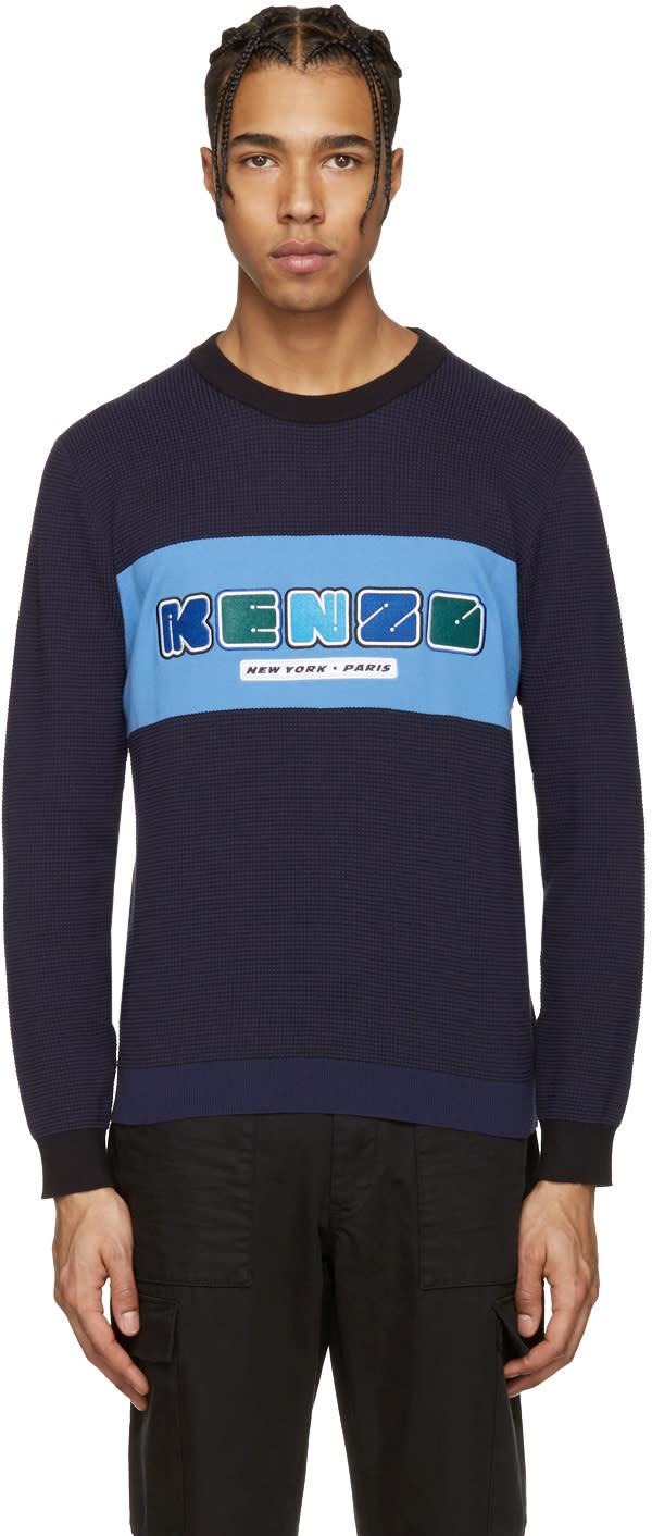 Kenzo Blue Nasa Logo Waffle Knit Pullover