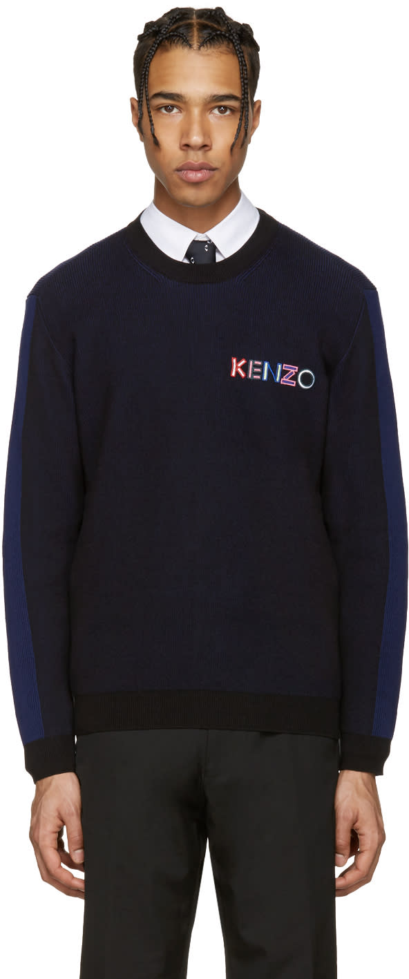 Kenzo Black and Navy Embroidered Ribbed Pullover