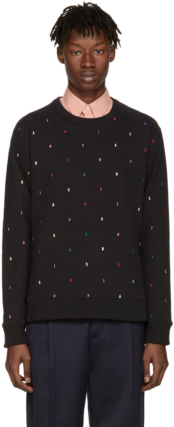 Kenzo Black Small Multicolor Letters Pullover