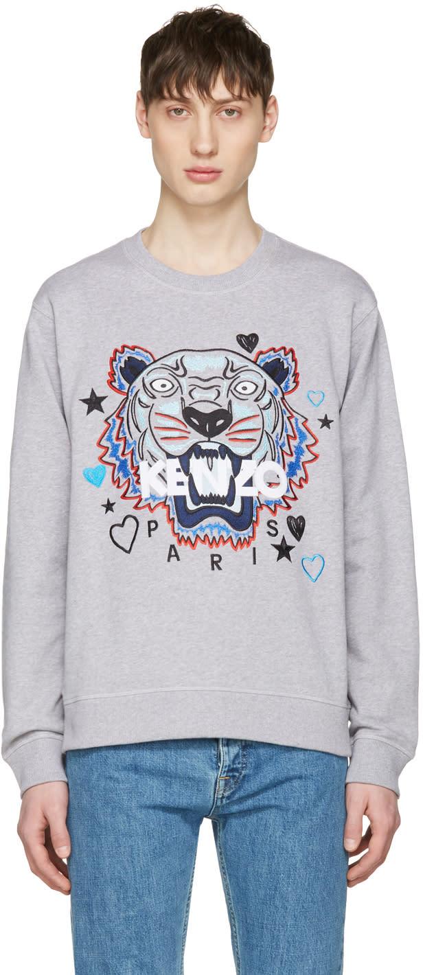 Kenzo Grey Valentines Tiger Pullover