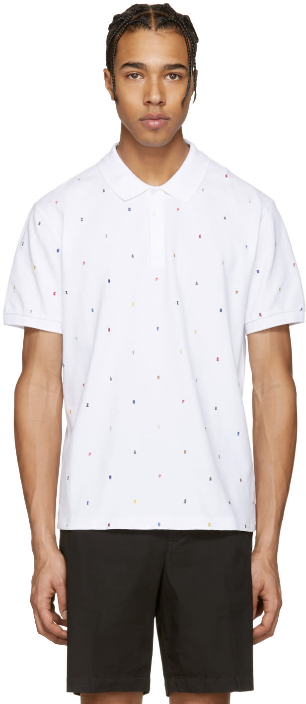 Kenzo White Embroidered Polo