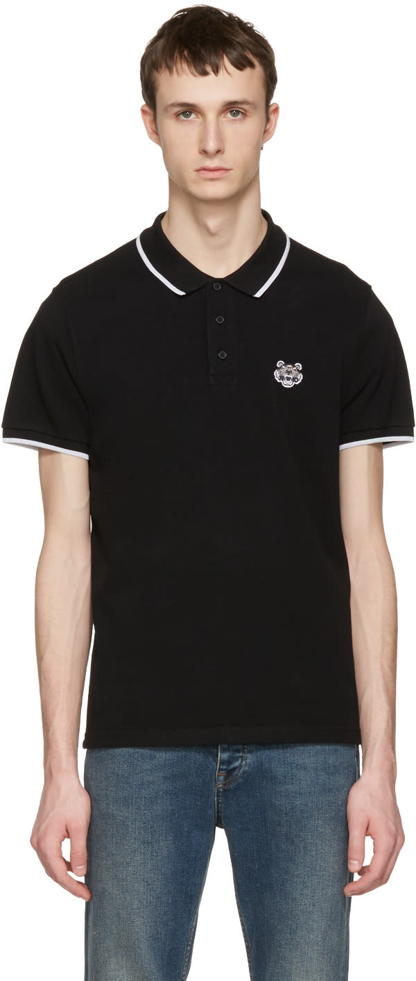 Kenzo Black Tiger Patch Polo