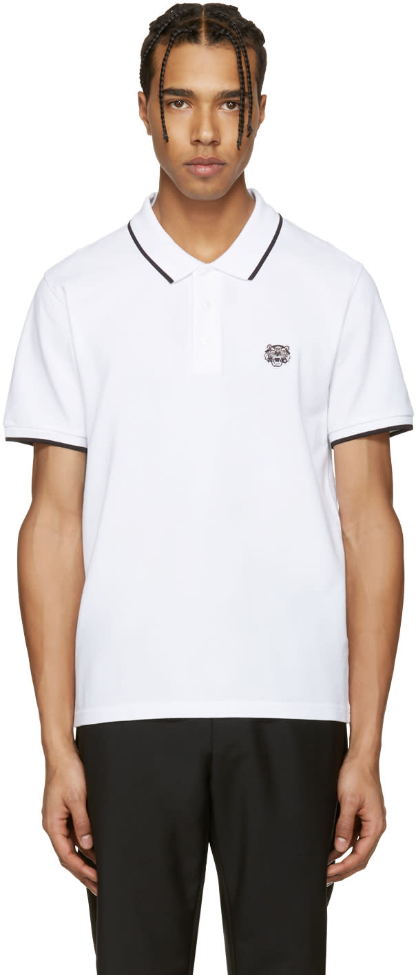 Kenzo White Tiger Patch Polo