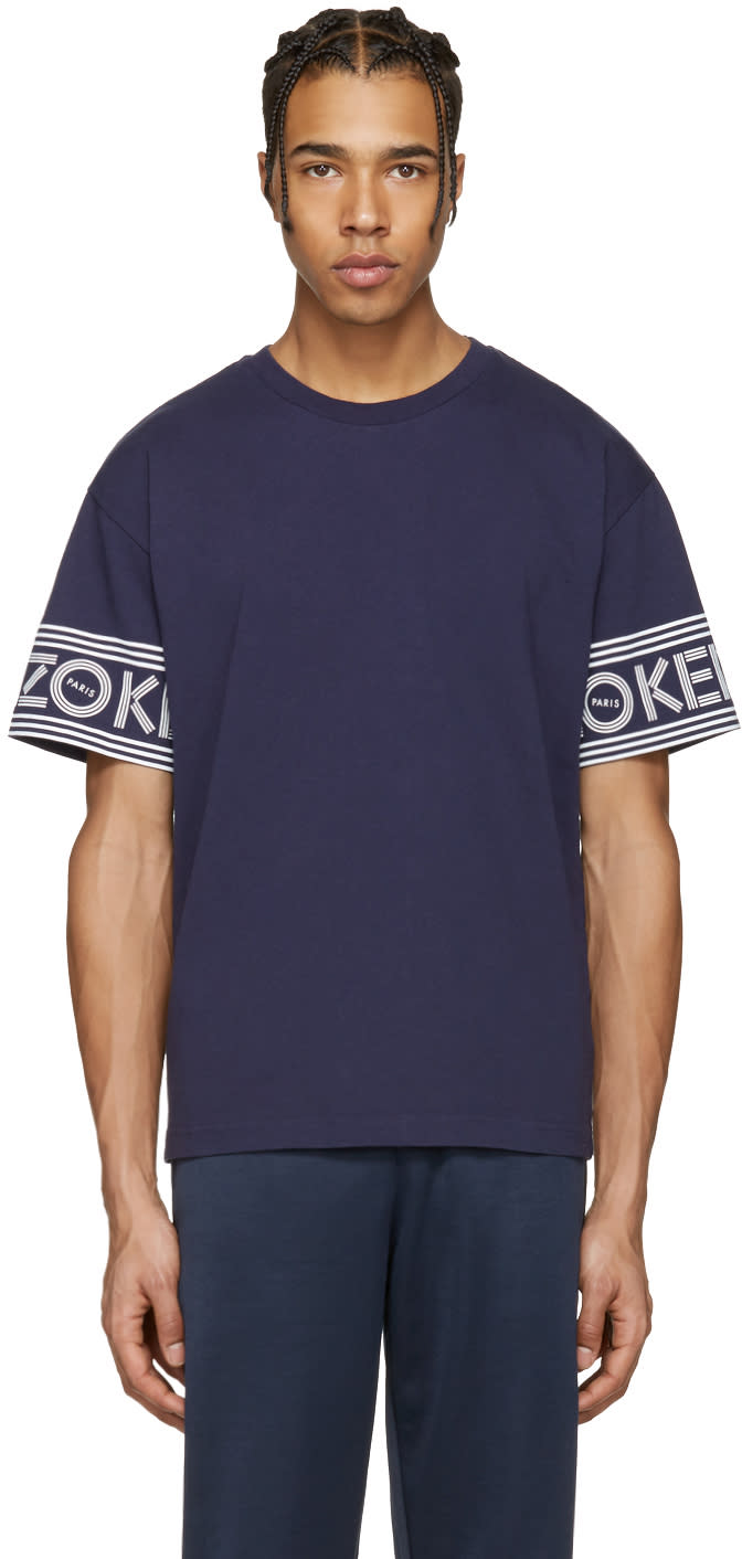 Kenzo Navy Logo Sleeves T-shirt