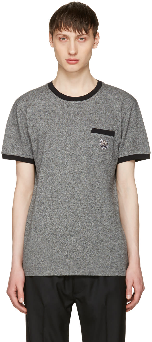 Kenzo Grey Tiger Pocket -t-shirt