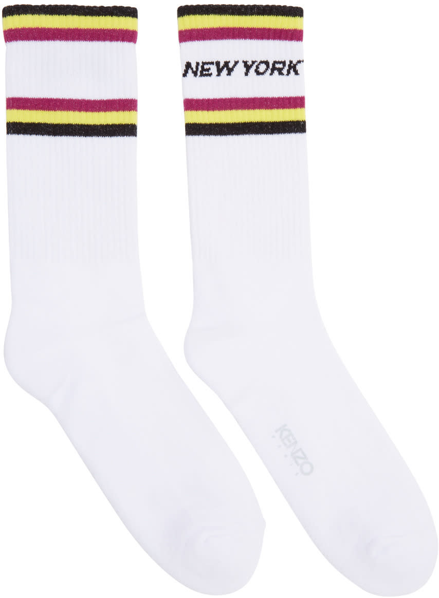 Kenzo White Paradise New York Socks