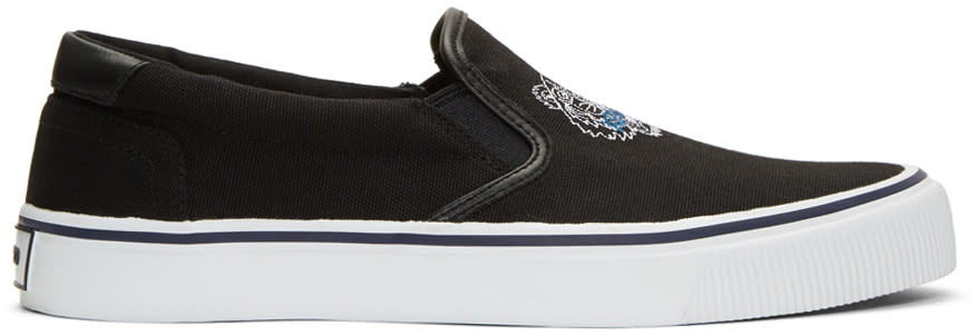 Kenzo Black Tiger Slip-on Sneakers