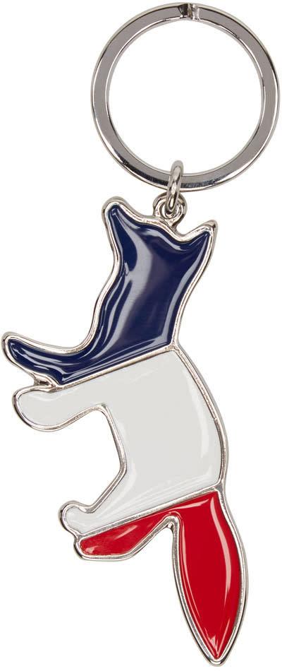 Maison Kitsune Silver Tricolor Fox Keychain