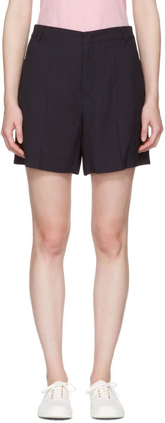 Maison Kitsune Navy Crepe Maddy Shorts