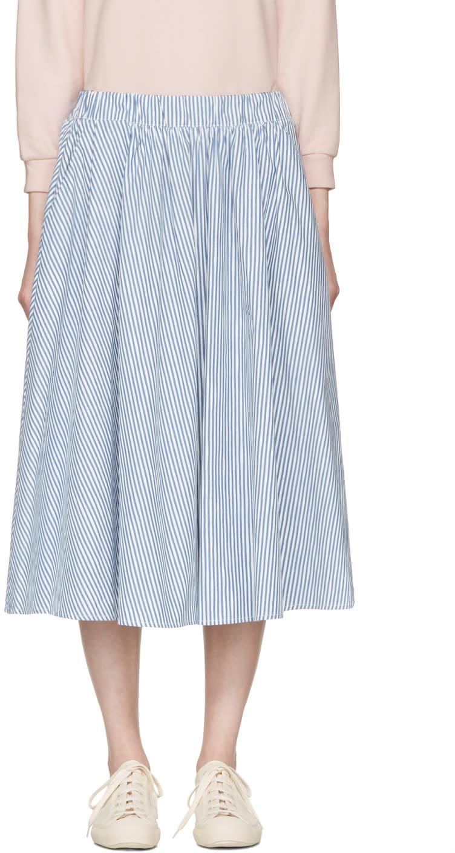 Maison Kitsune Blue Striped Estelle Skirt