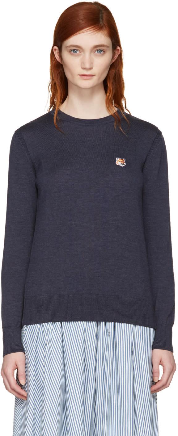 Maison Kitsune Navy Fox Head Patch Sweater