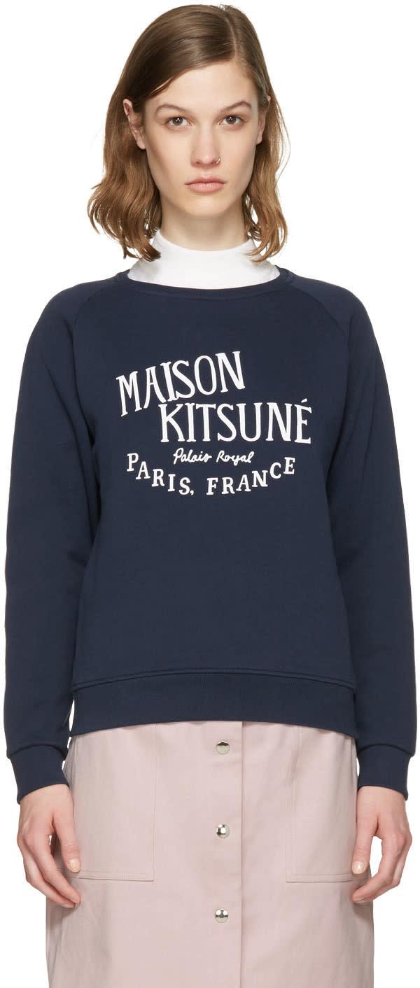Maison Kitsune Navy Logo Pullover