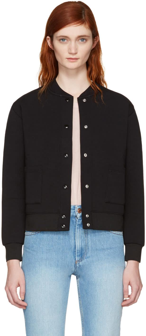 Maison Kitsune Black Logo Bomber Jacket