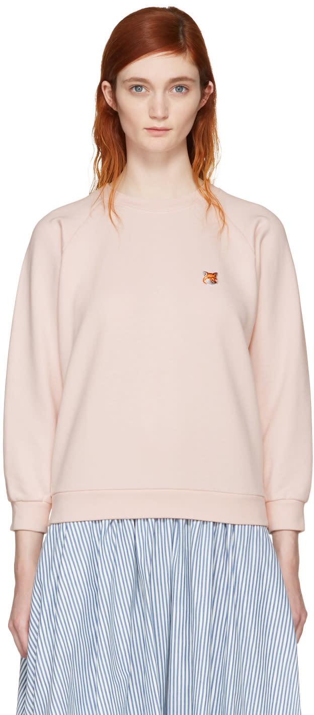 Maison Kitsuné Pink Fox Head Patch Sweatshirt