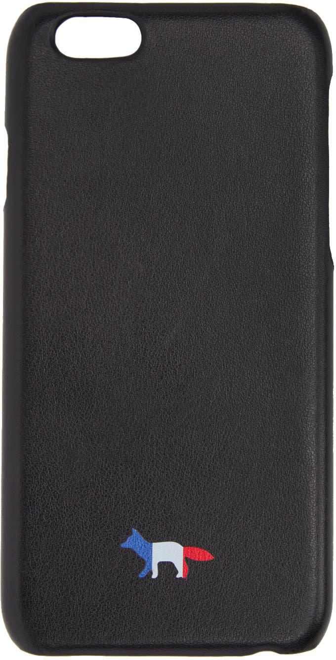 Maison Kitsune Black Leather Tricolor Fox Iphone 6 Case