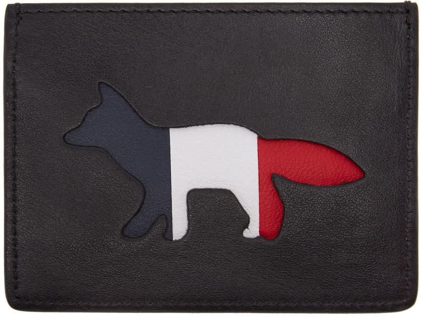 Maison Kitsune Black Tricolor Fox Card Holder