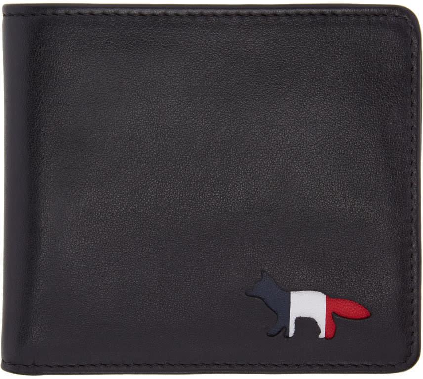 Maison Kitsune Black Tricolor Fox Wallet