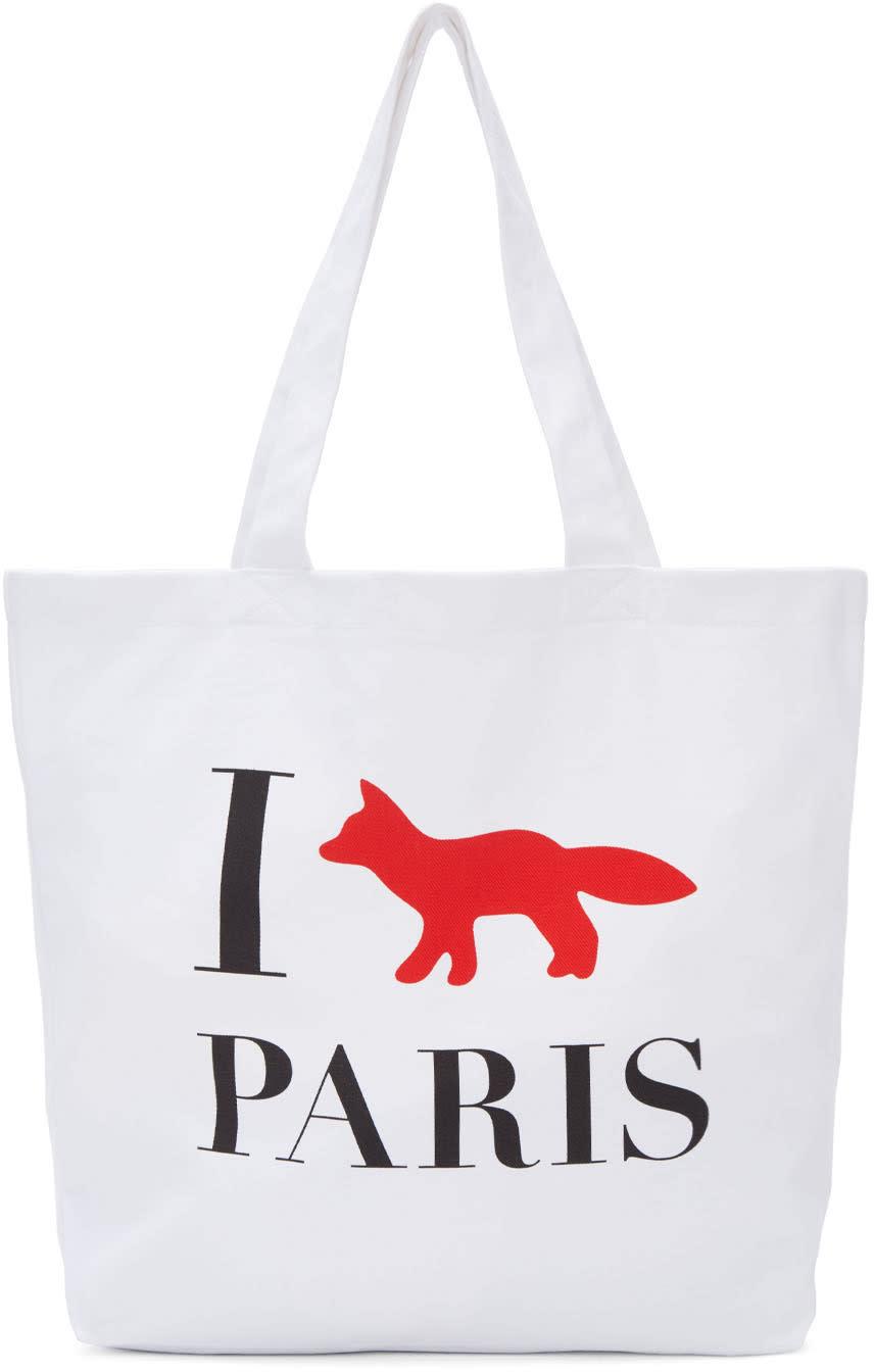 Maison Kitsune White i Fox Paris Tote