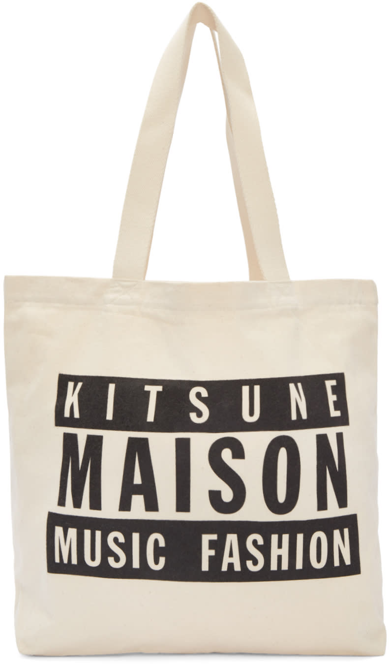 Maison Kitsune Ssense Exclusive Off-white Maison 18 Tote