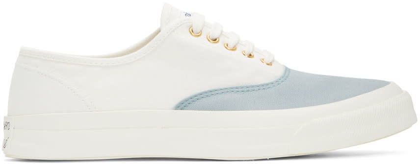 Maison Kitsune White and Blue Canvas Sneakers