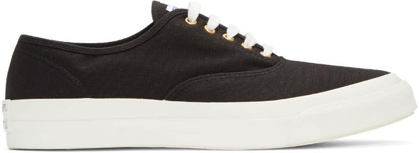 Maison Kitsune Black Canvas Sneakers