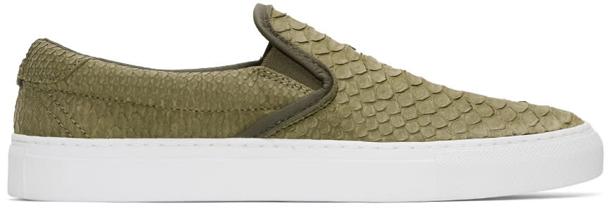 Diemme Green Python Garda Slip-on Sneakers