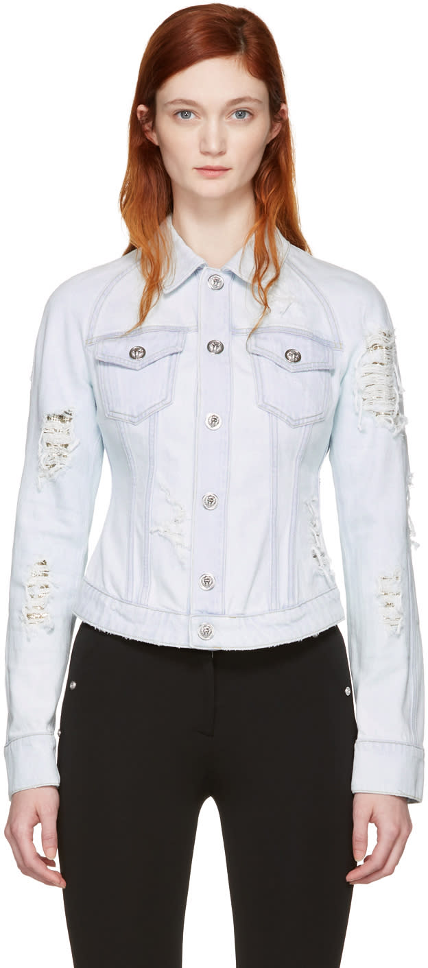 Versus Blue Distressed Denim Jacket