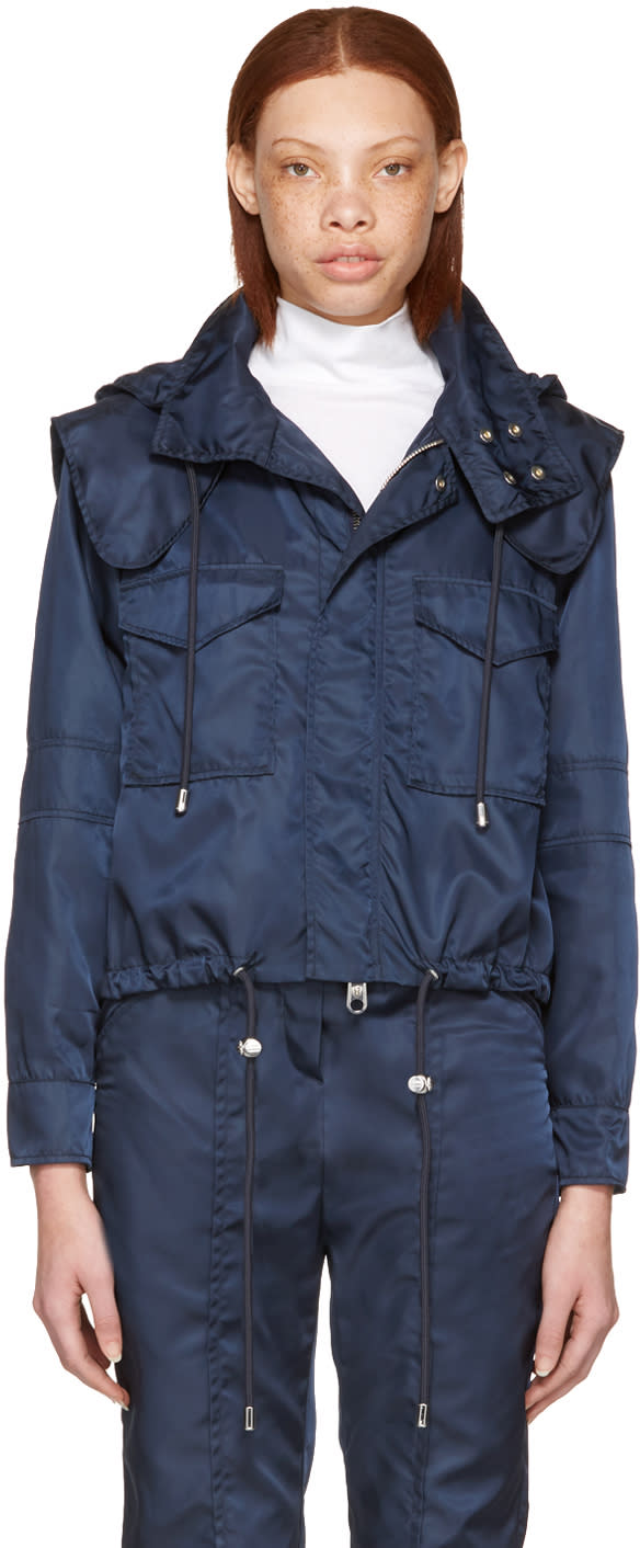 Versus Navy Nylon Hooded Jacket