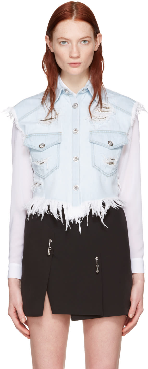 Versus Blue Denim Cropped Distressed Vest